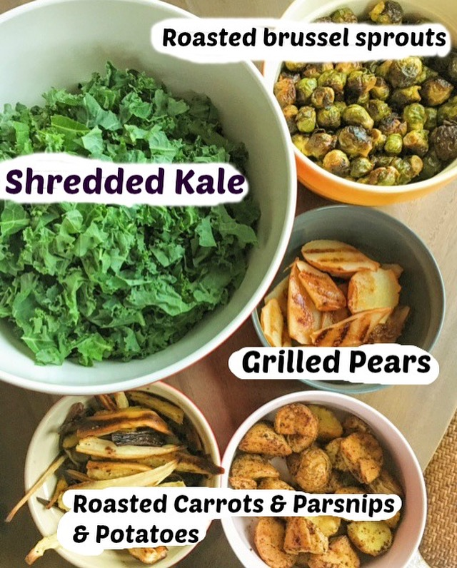 Shredded kale, roasted potatoes, brussel sprouts, parsnips, carrots