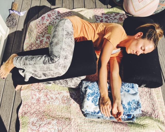 Side lying shavasana restorative yoga pose
