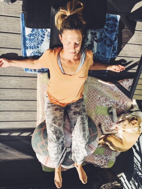Legs over chair pose, restorative yoga.