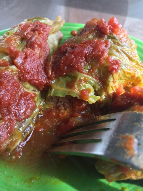 Gluten free stuffed cabbage rolls with a sweet, tangy sauce. Ridiculously delicious
