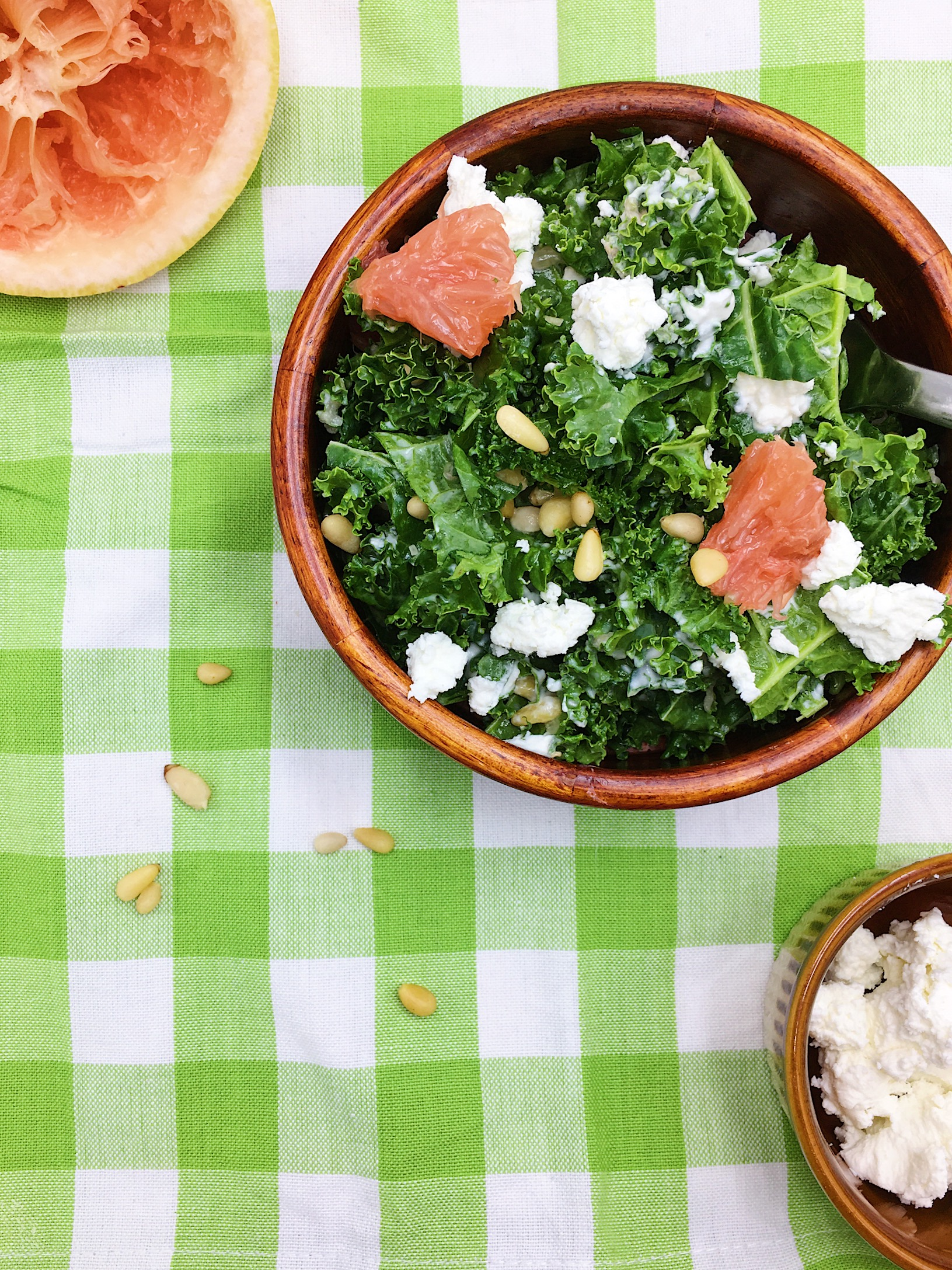 Kale Salad with Creamy Grapefruit Vinaigrette
