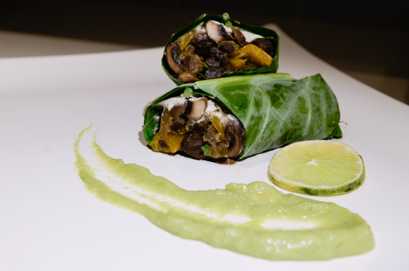 Warm Collard Wraps with Avocado Lime Dipping Sauce