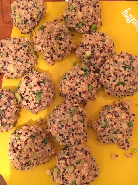 Salmon patties set nicely when they're cooled in refrigerator or freezer for 20-30 minutes