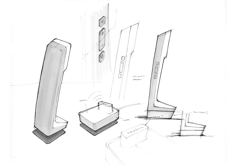 L7 telephone design concept sketch by Kiwi & Pom.