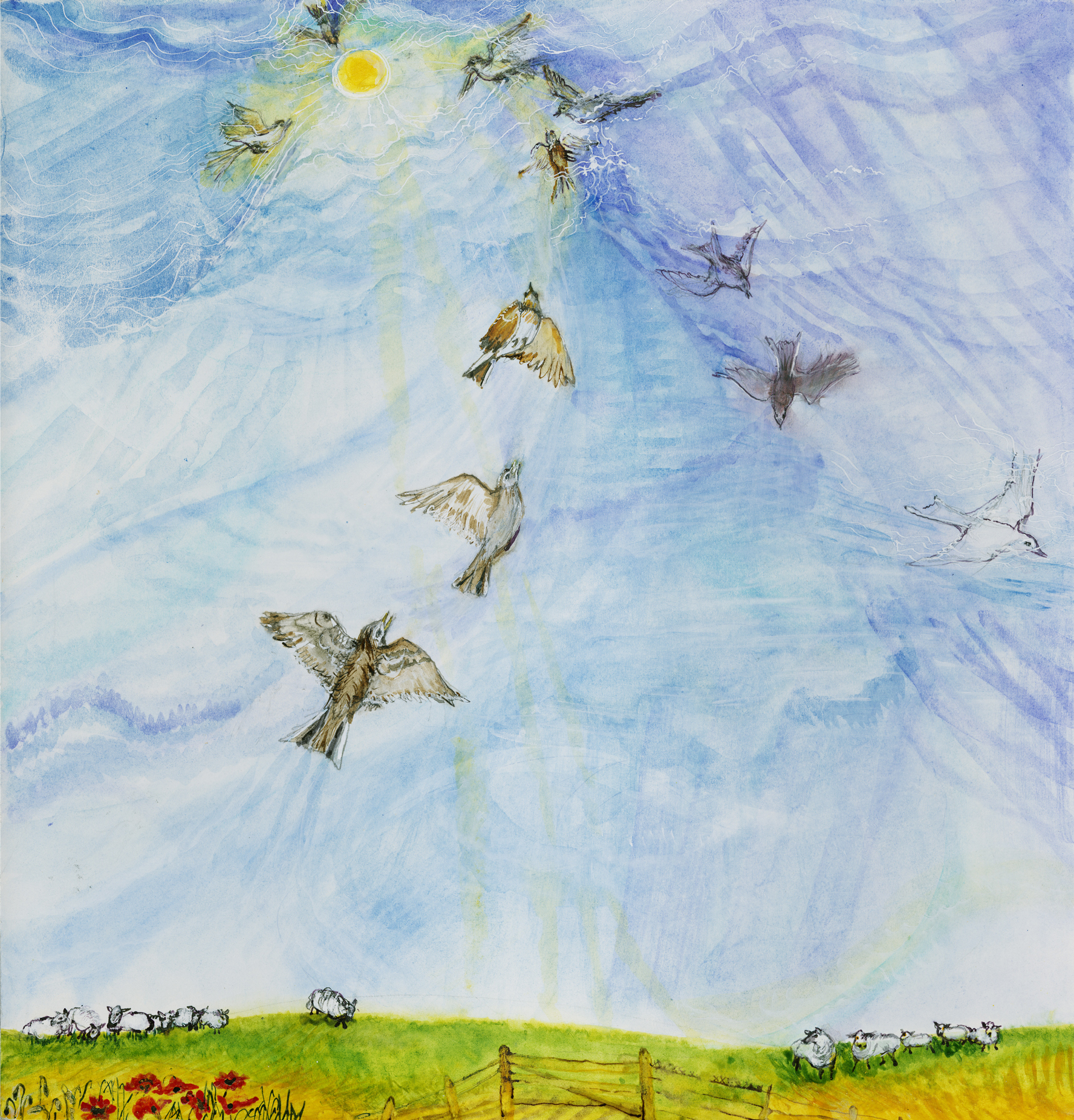 Larks soaring to the sun