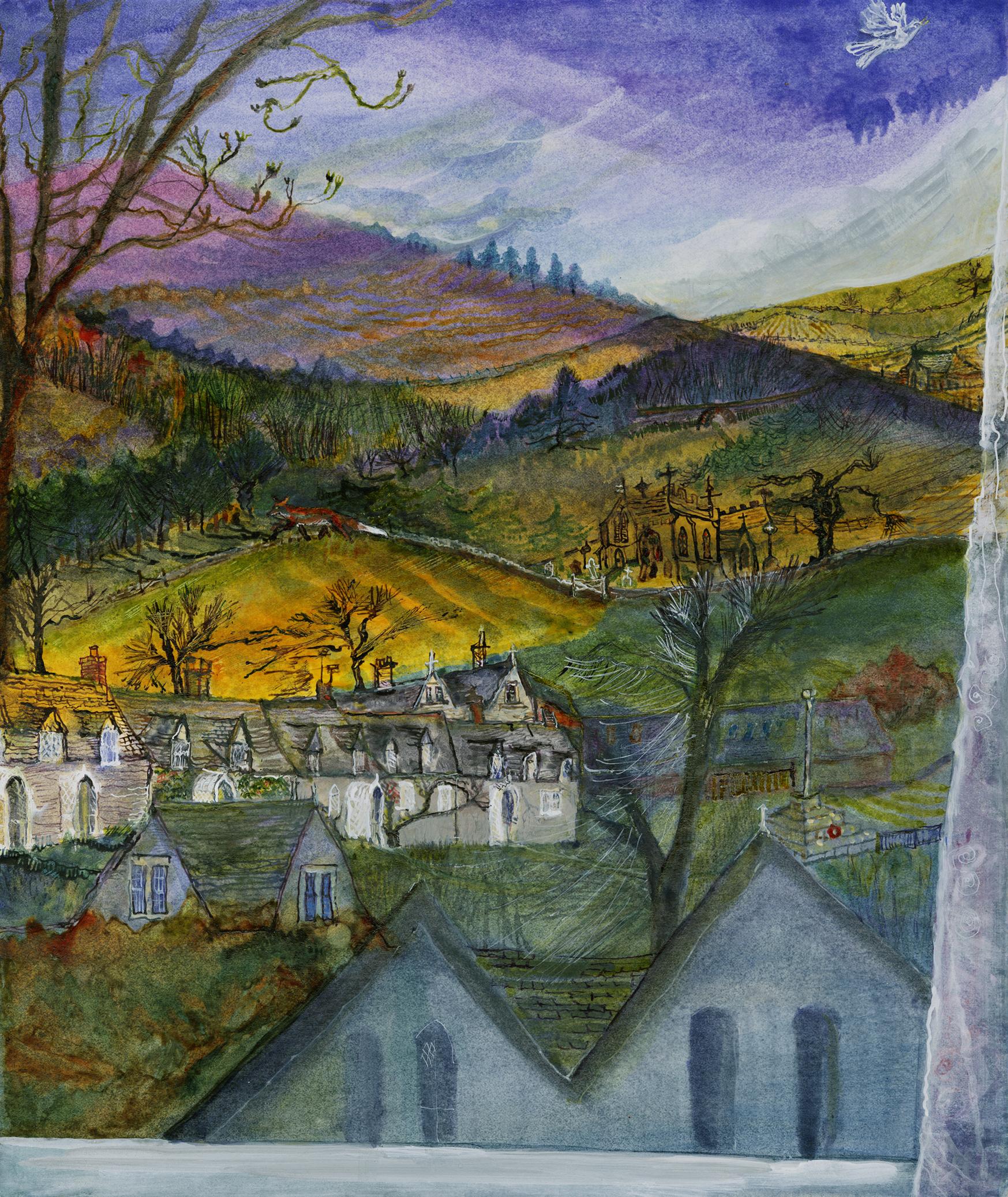 Evening lark singing above village