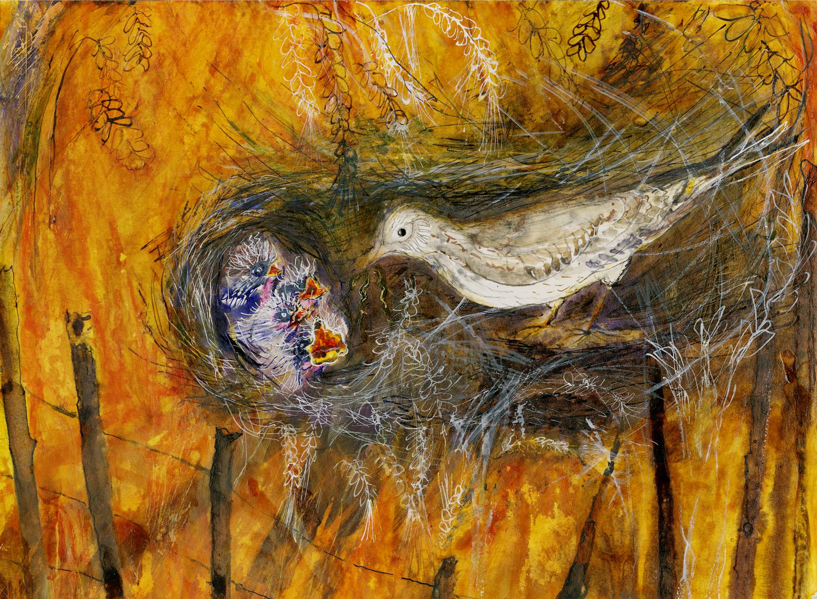 Nesting lark in scraped hollow