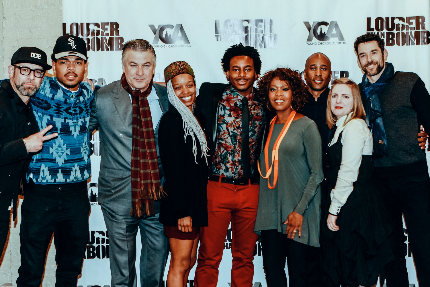 with Artistic Director Kevin Coval, Chance The Rapper, Associate Artistic Director Jamila Woods, National Organizer Malcolm London, Executive Director Rebecca Hunter, National Director of Special Operations Sean Kaplan