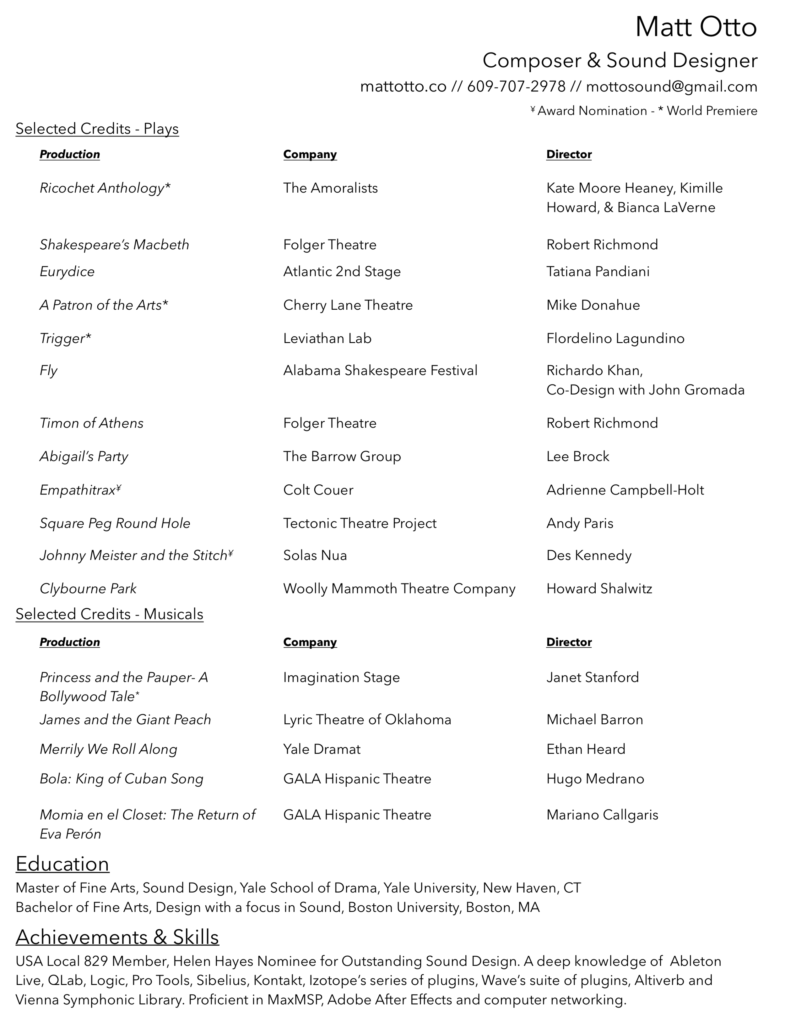 Matt Otto Theatre Resume Selected Credits.png