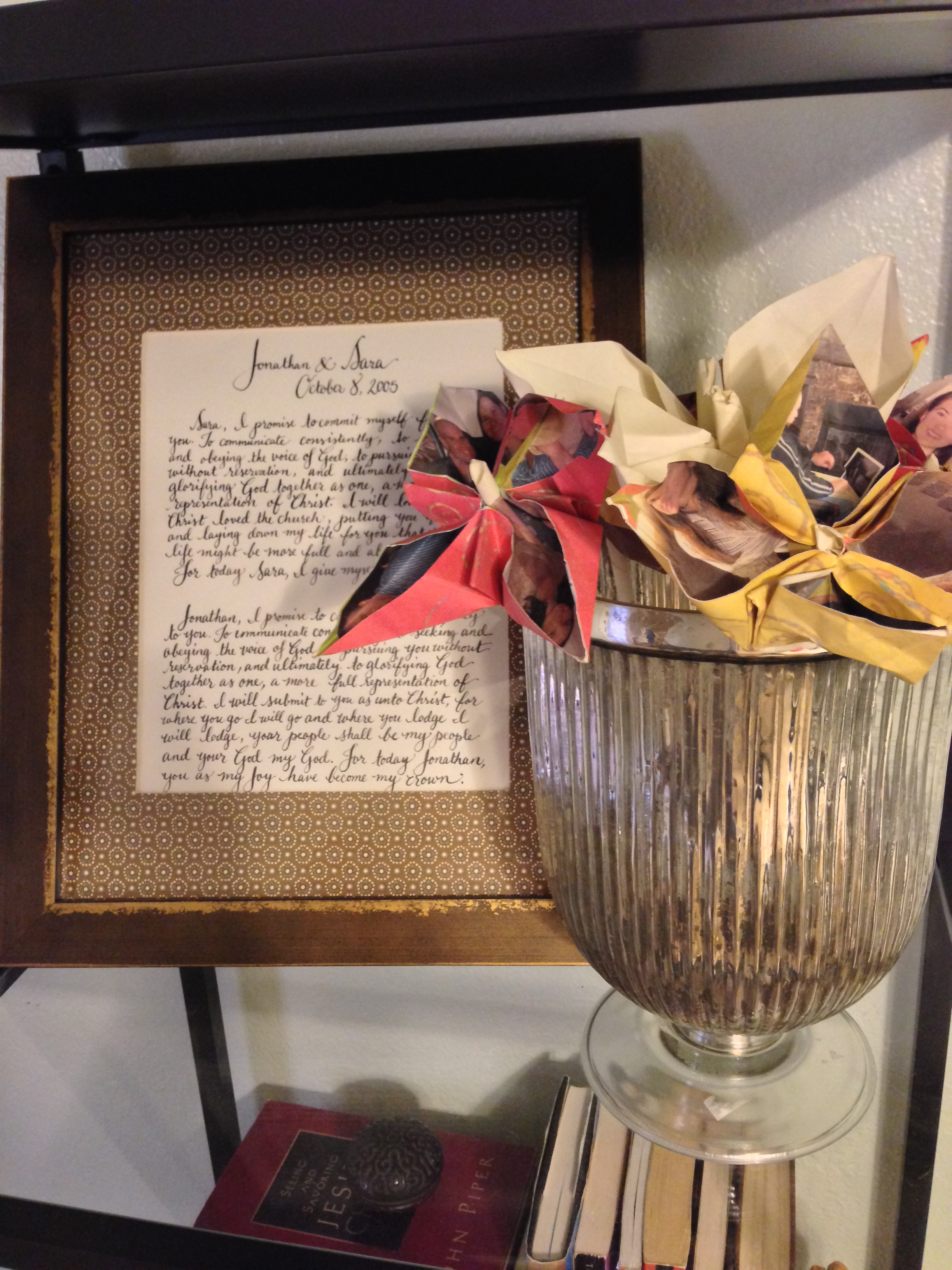 I had the super talented  Kathryn Murray  write out our vows in calligraphy and he handmade origami flowers from special pictures and notes he had written me.