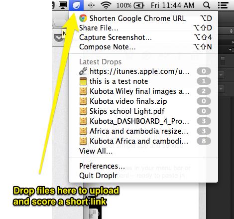 Droplr installed in the Mac menu bar