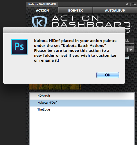 """The Dashboard effect is now an action in the folder """"Kubota Batch Actions"""""""