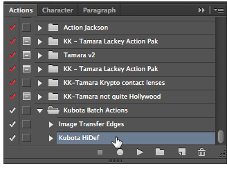 """If you want to modify this action, or combine it with others, drag it out to a new folder before you do. If you save this same action again, it will OVERWRITE the current one inside """"Kubota Batch Actions"""""""