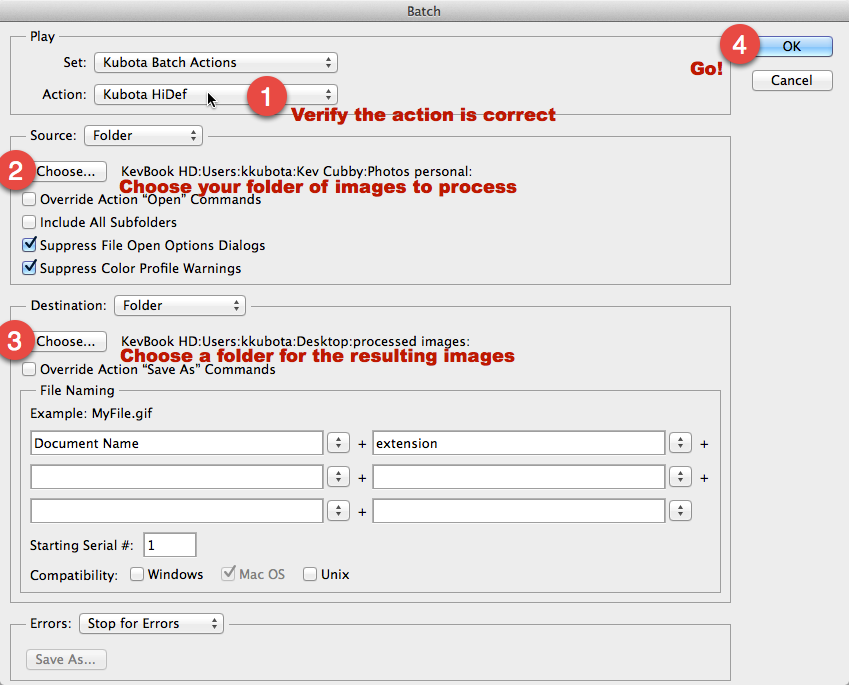 Check settings and choose source and destination folders, then fire away!
