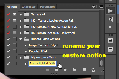 Create your own folder and drag the action in there, then rename it something unique.