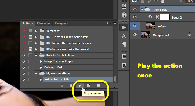 With an image open, play the action once from your actions palette and verify it works as normal.