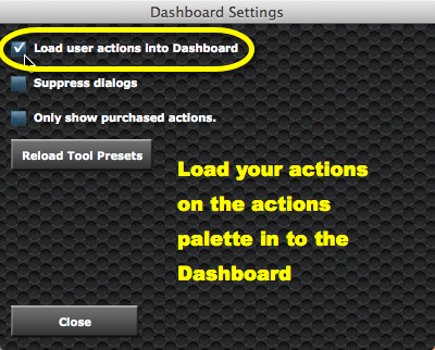"""Check the box to """"Load user actions into Dashboard"""". If it's already checked, just toggle it off then on again."""