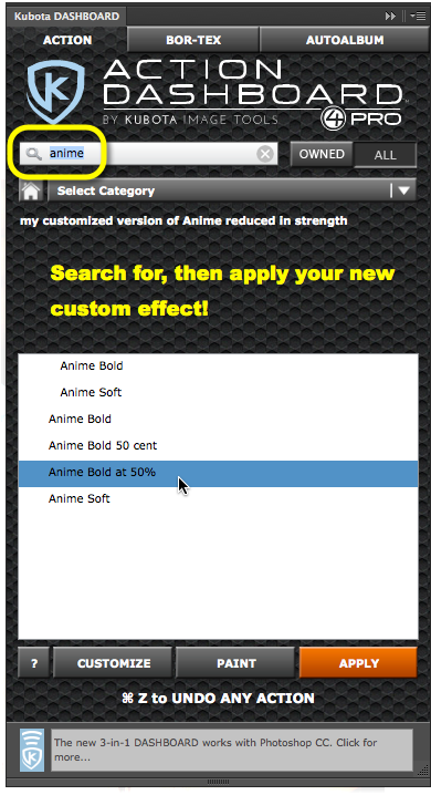 Now you can keyword, add a description, search for, and use the Paint button with your new customized Dashboard effect!