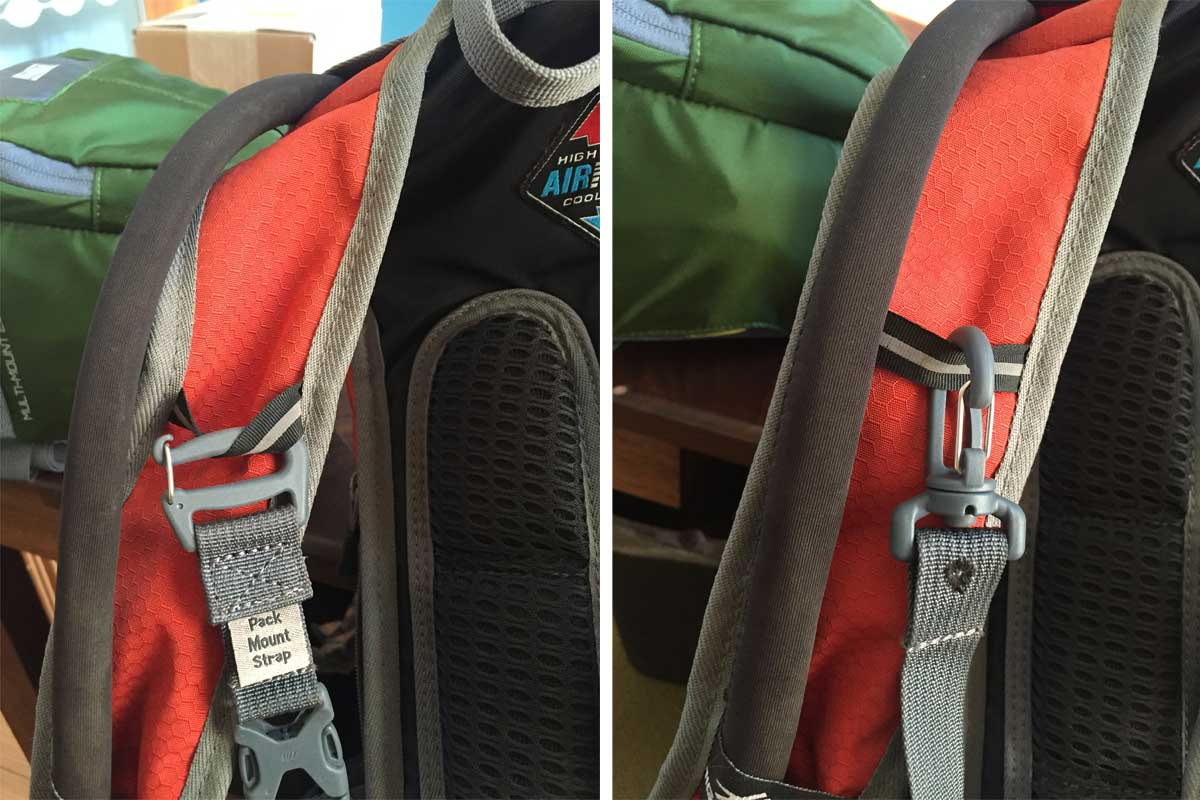 On the left is the way the strap attaches to your backpack horizontal accessory strap. I would have preferred a swivel connector like on the right (which is used on the other end of the strap to connect to the carrier).