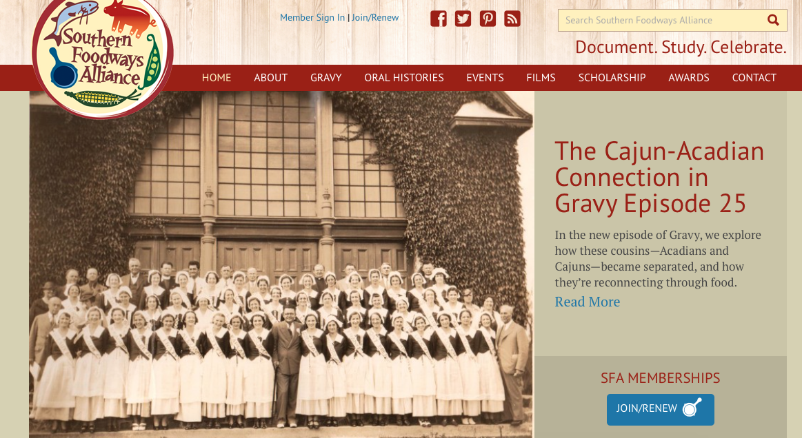 The front page of the SFA's website. The photo shown was taken in 1936, of a delegation of Cajuns visiting Nova Scotia.