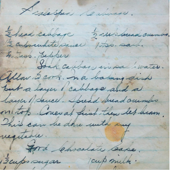This recipe for Scalloped Cabbage assumes that the home cook knows how to make a white sauce. Luckily, my grandmother had gone to finishing school and knew how to make one without thinking. Today, however, that white sauce would have its own recipe, written underneath.