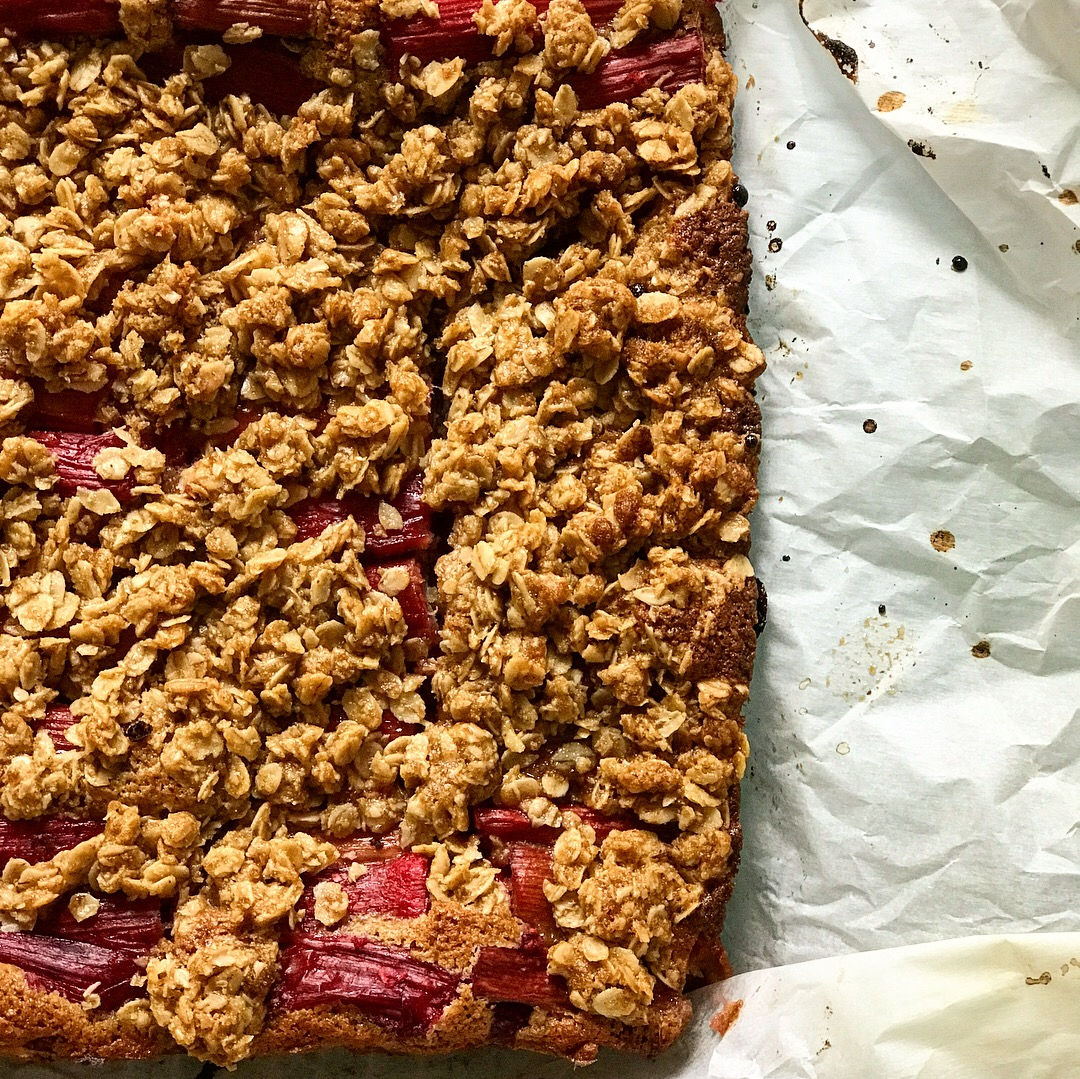 100% whole grain flour coffee cake with rhubarb roasted with ginger and star anise, and an oat and oat flour streusel.