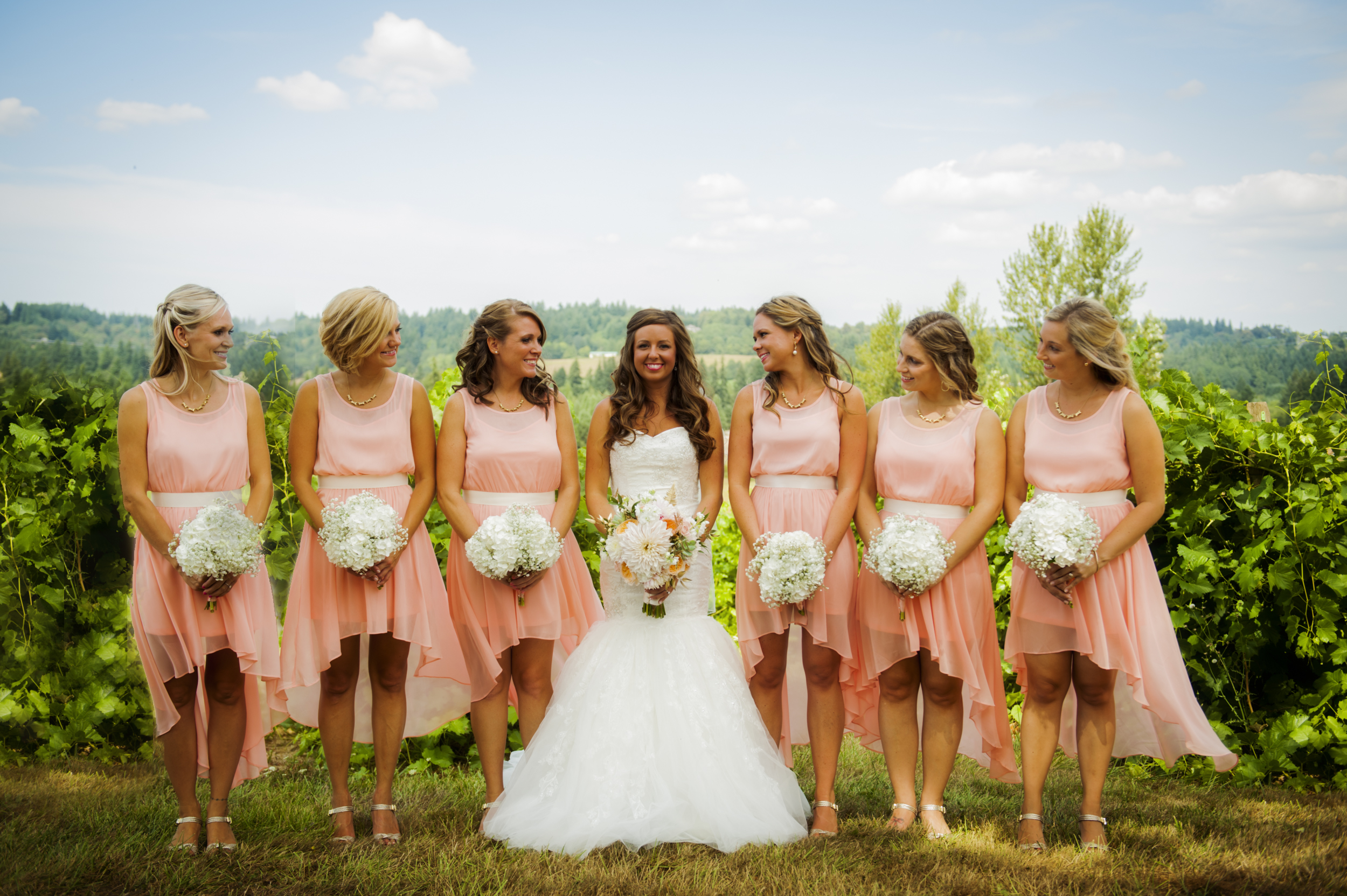 Portrait of bride and bridesmaids at Kings Raven Vineyard by Ripe Photography.