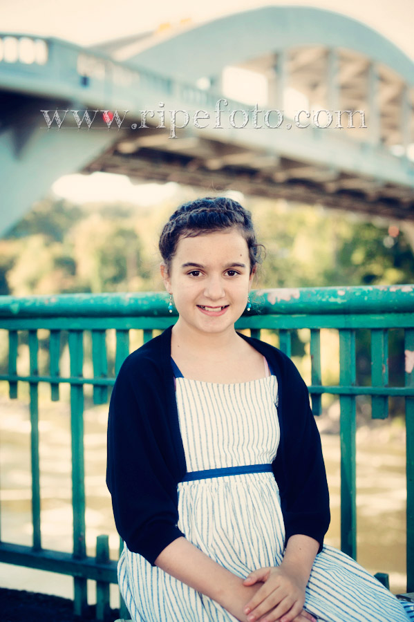 Portrait of young girl near the Oregon City Bridge by Ripe Photography.