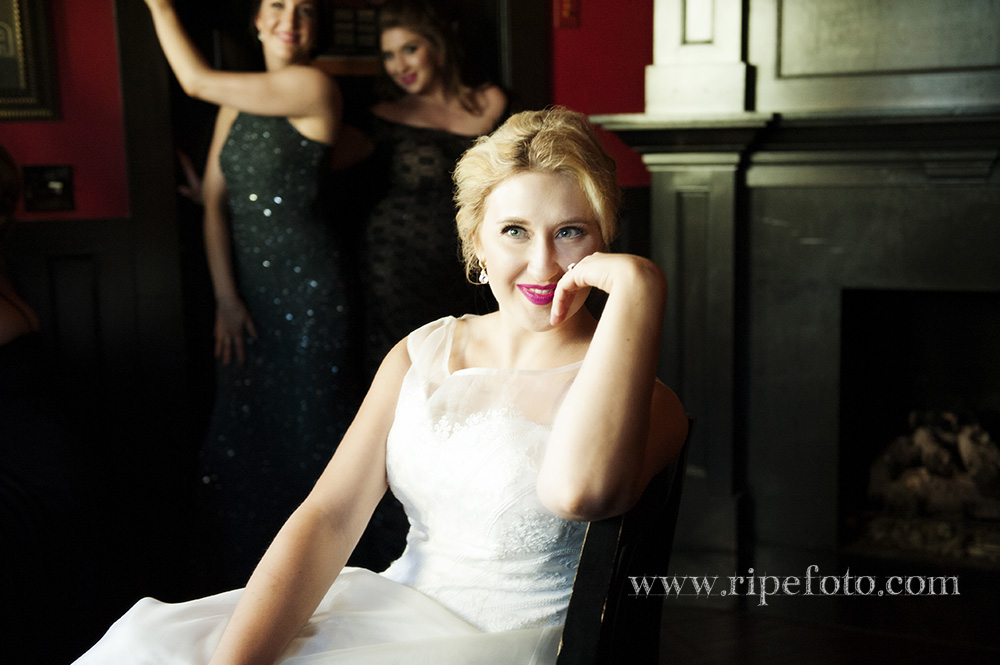 Portrait of bride in the Midway Pub in Tacoma, Washington by Oregon wedding photographer Ripe Photography.