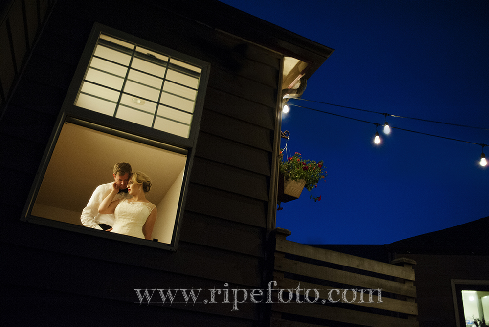 Portrait of bride and groom with a blue evening sky by Oregon wedding photographer Ripe Photography.