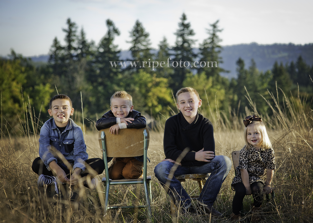 Portrait of children in field on vintage chairs and stool by Portland portrait photographer Ripe Photography.