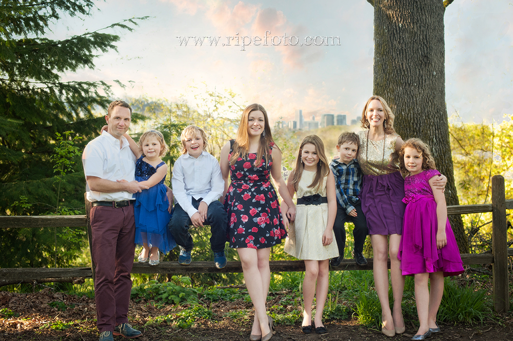 Portrait of family overlooking the city of Portland by portrait photographer Ripe Photography.
