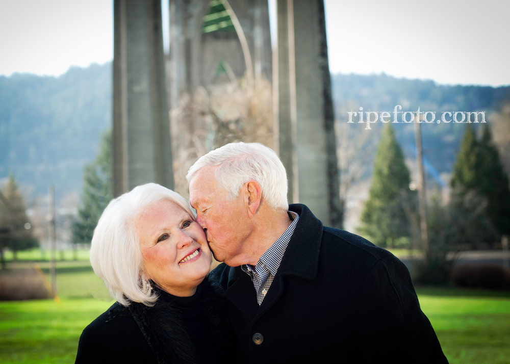 Portrait of couple at Cathedral Park in Portland, Oregon by Ripe Photography.