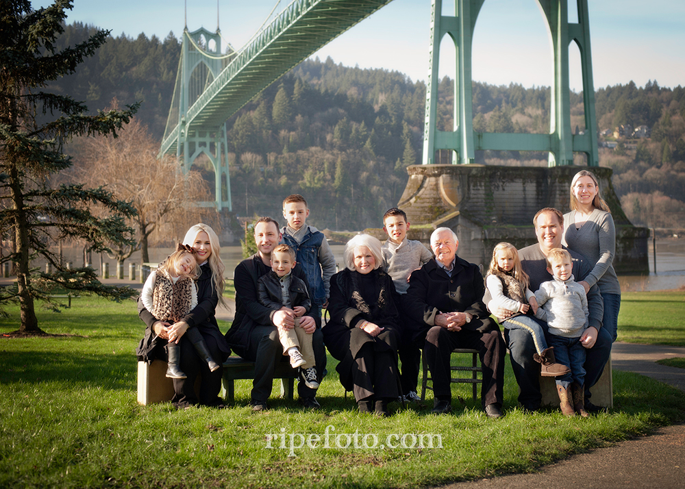 Portrait of multi-generational family at Cathedral Park in Portland, Oregon by Ripe Photography.