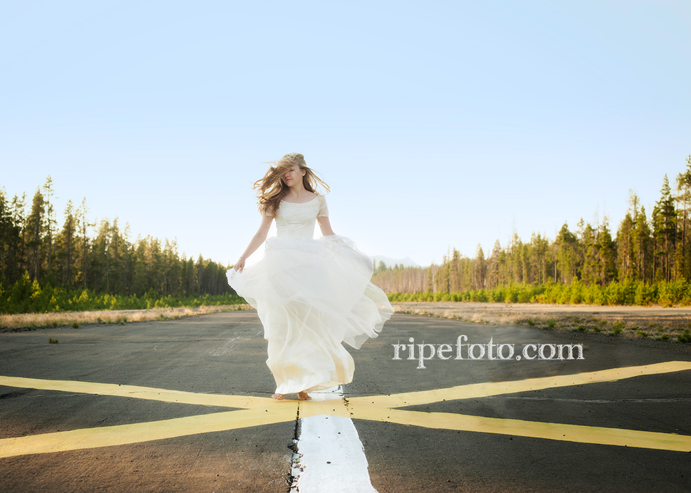 Conceptual portrait of woman mountain runway by Portland, Oregon fine art photographer Ripe Photography.