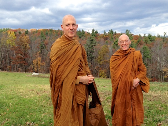 Ajahn Jayanto and Tan Caganando on the property in Temple, NH