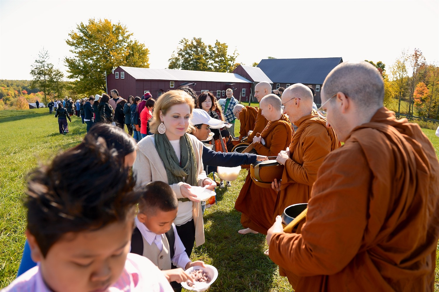 Alms-round during the 2014 Pa Bah at Temple