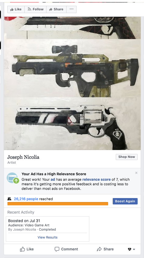 """""""26,216 people reached"""" == 4 prints sold, and none of the set listed in the ad."""