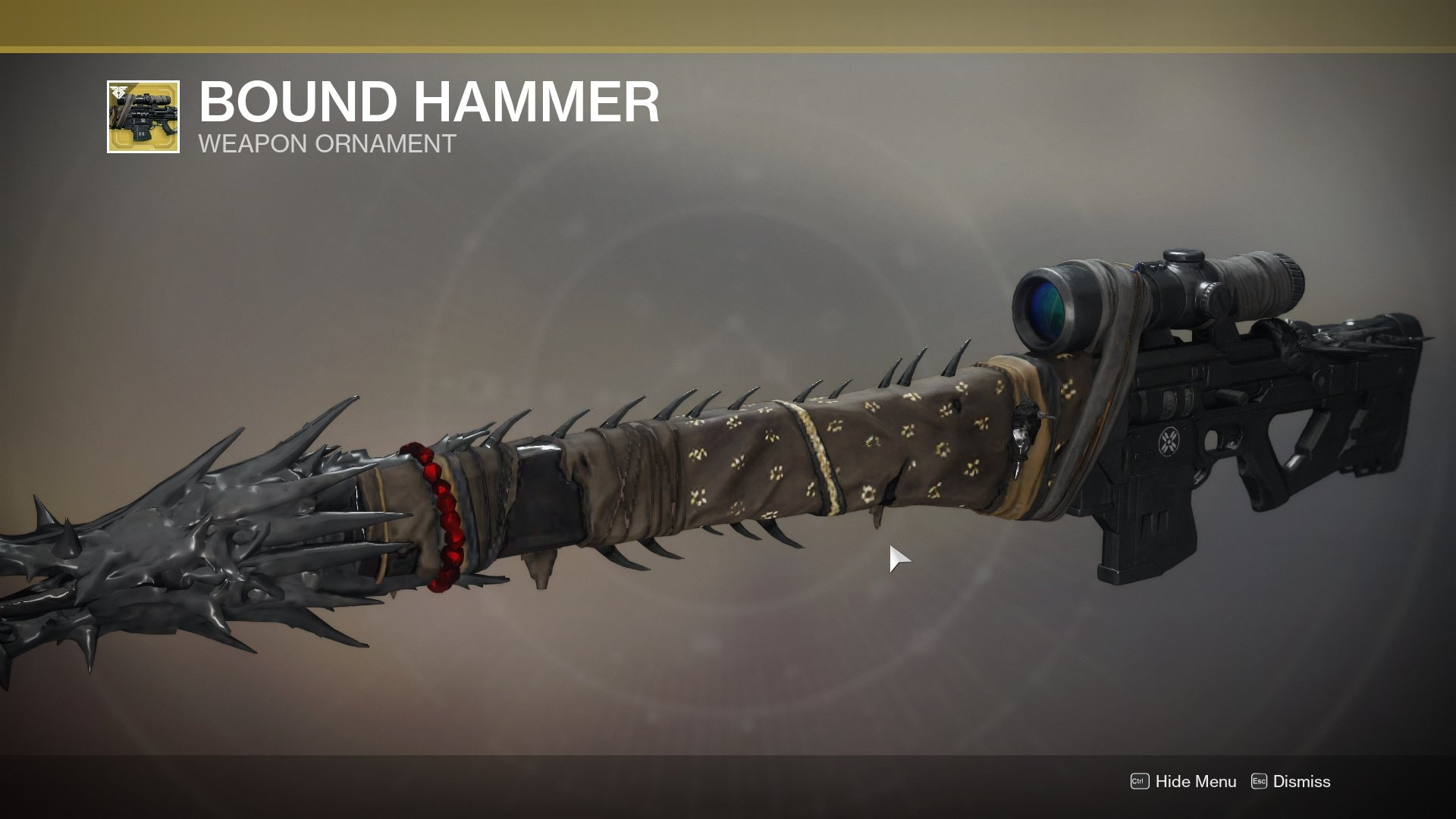 Bound Hammer, a reference to Eris Mourn, the Hunter introduced in the Dark Below expansion of Destiny 1, who had to sacrifice her light and her own eyes to be able to escape Crota's lair.