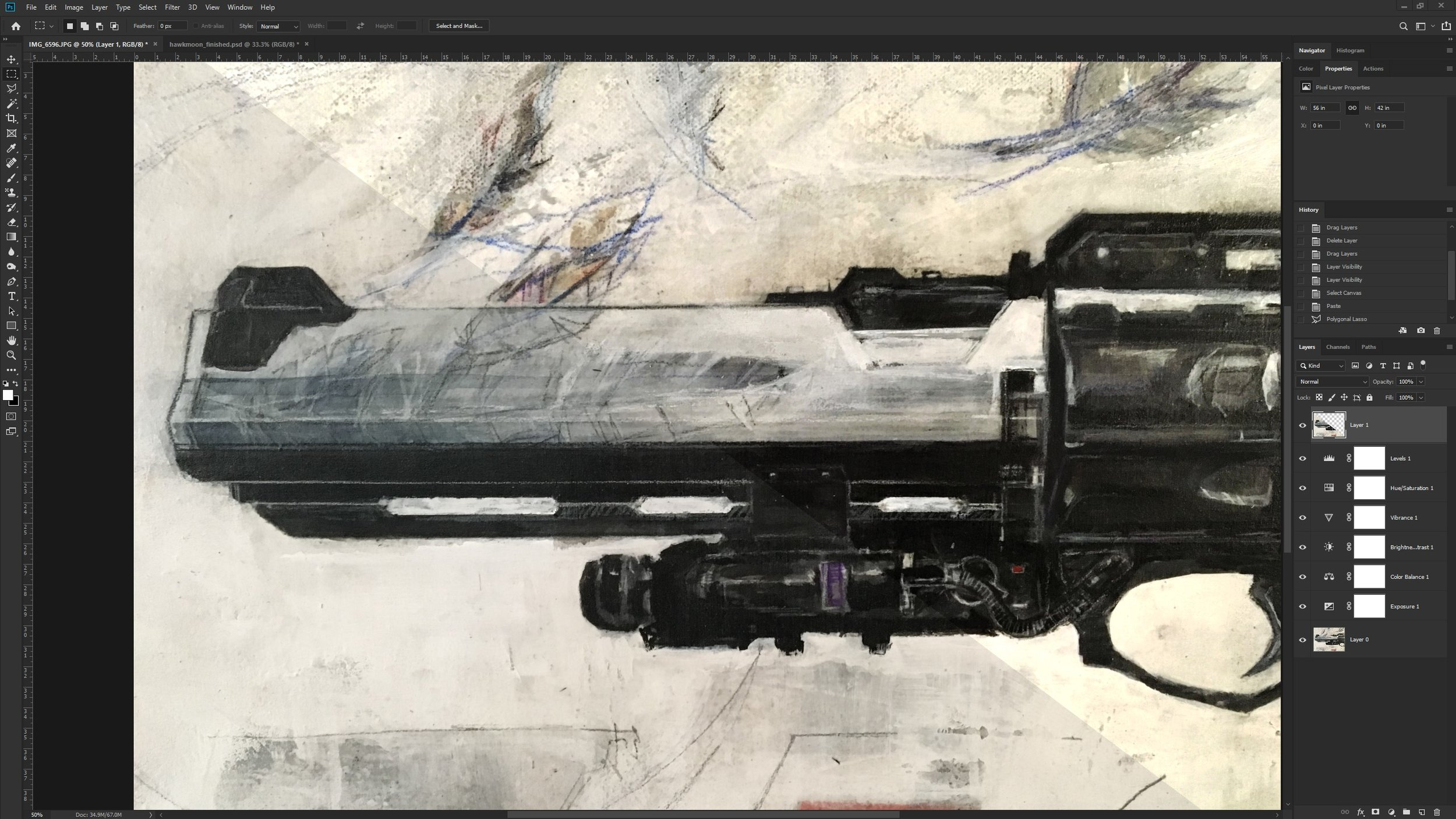 Photoshop edits of iPhone 6s preview shots of Hawkmoon painting. Left is untouched, right is filtered with  Image > Adjustment commands on individual layer masks.