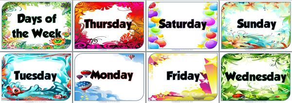 photo about Free Printable Classroom Posters titled Attractive Times of the 7 days Posters for your clroom
