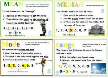 mean, median, mode, range poster set