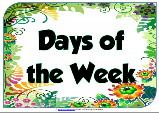 8 poster set on days of the week