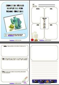 8 page monster themed writing pack