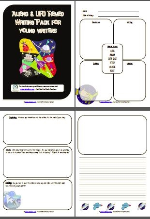 8 page alien and UFO themed writing pack