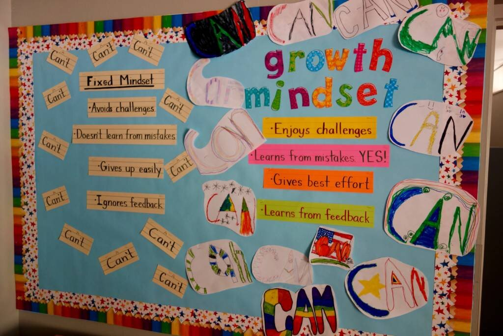 growth mindset bulletin boards are an excellent and constant reminder