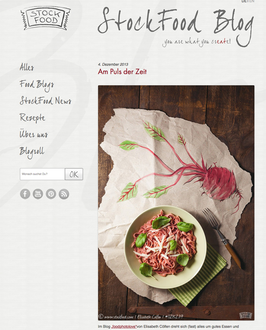 Screenshot des Stockfood-Blogs