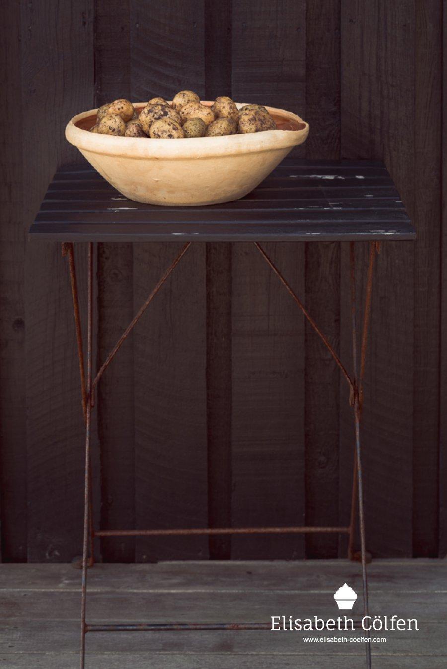 Local Danish potatoes in a big bowl outside