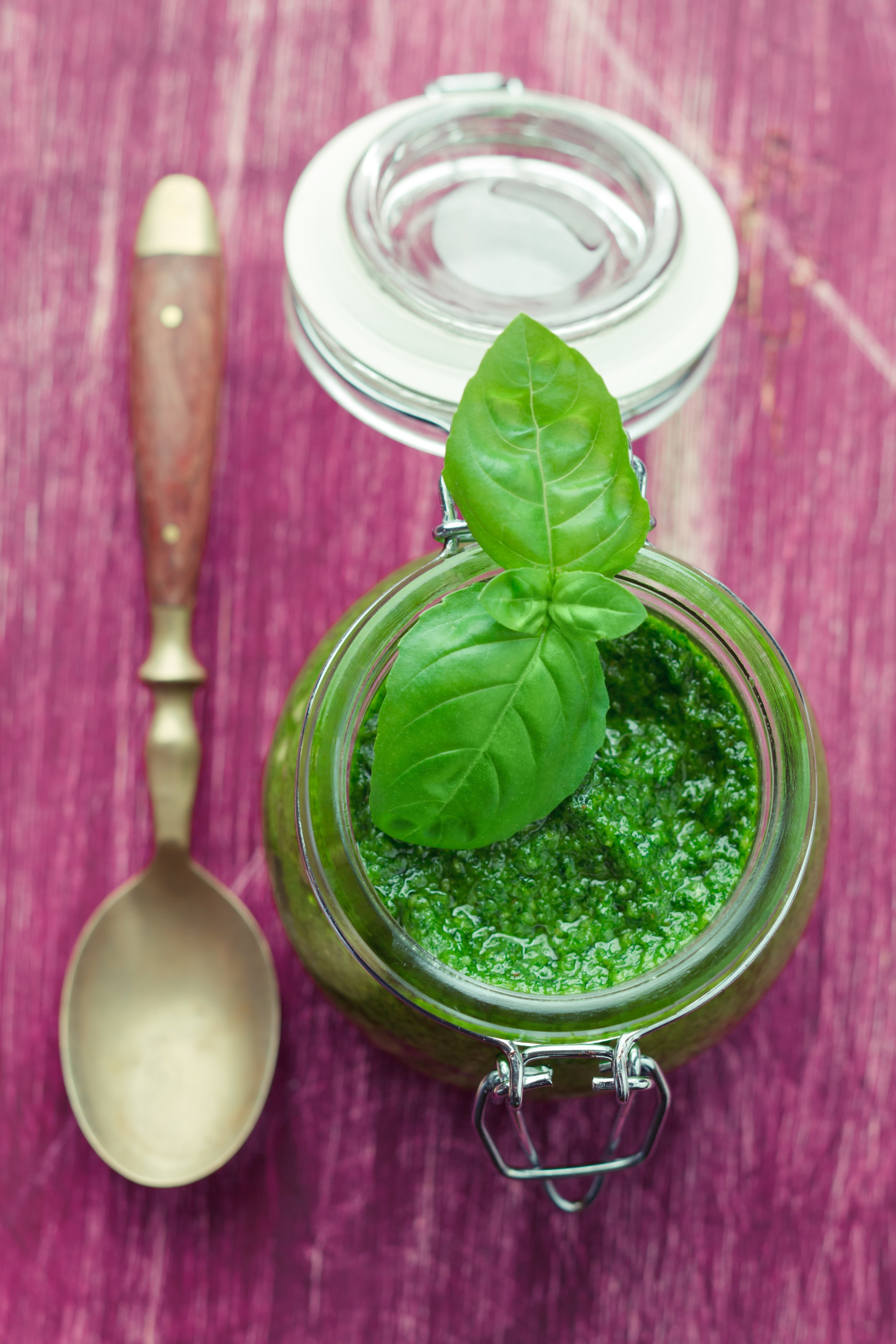 Pesto in glass jar