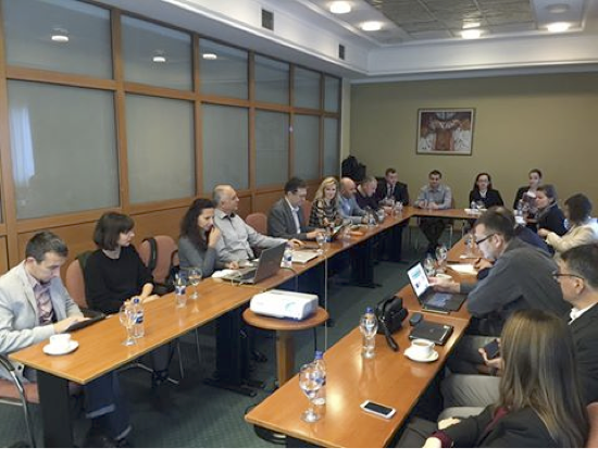 ABOVE: Participants meet to discuss quality standards, certifications, joint trade missions and joint project proposals in Skopje